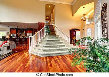 bonito, escadaria, casa, luxo, interior., foyer