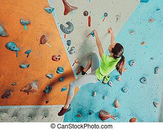 bonito, escalando, ginásio, mulher