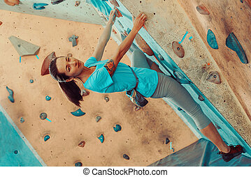 bonito, escalando, menina, ginásio