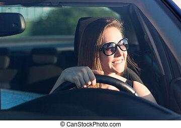 bonito, executiva, dirigindo, car