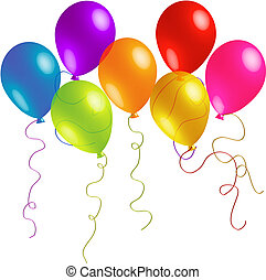 bonito, fitas, aniversário, balões, longo