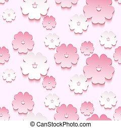 bonito, flor, seamless, padrão, sakura, fundo, 3d