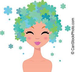 bonito, floral, penteado, mulher