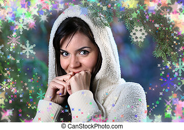 bonito, floresta, mulher, inverno, jovem