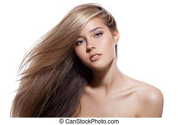 bonito, fundo, saudável, longo, girl., loura, hair., branca