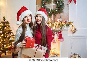 bonito, gêmeos, trajes natal