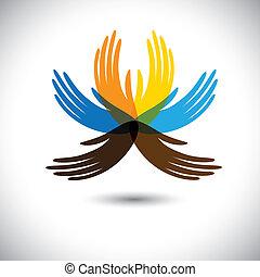 bonito, hands-, mostrando, flor, aliança, coloridos, pessoas, este, junto, abstratos, etc, comunidade, unidade, conceitos, pétalas, vetorial, ilustração, mãos humanas, consiste, graphic.