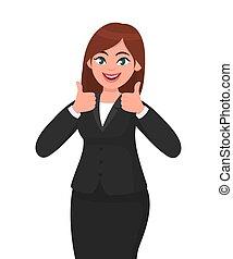 bonito, ilustração, concorde, conceito, mostrando, negócio, hands., positivo, semelhante, ambos, cima, /, sinal, mulher, vetorial, polegares, sorrindo, gesticule, style., caricatura, aprovar