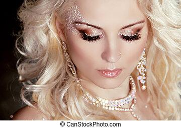 bonito, jóia, cacheados, beauty., compor, loura, hair., retrato, menina
