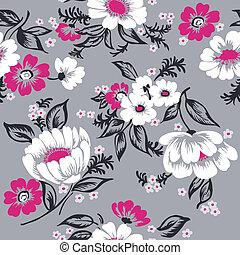 bonito, jogo, -, seamless, vetorial, desenho, fundo, floral, scrapbook, seu