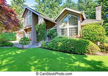 bonito, marrom, jardim, house., verde, frente