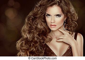 bonito, marrom, mulher, beleza, isolado, longo, luxuoso, cabelo, ondulado, portrait., cabelo, fundo, escuro, modelo, moda, menina