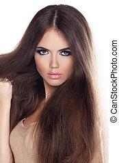 bonito, marrom, mulher, longo, moda, posar, hair., retrato, closeup, modelo, studio.