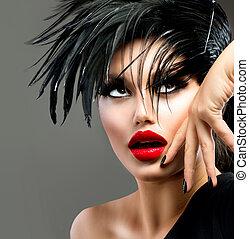 bonito, moda, arte, hairstyle., punk, girl., retrato, modelo