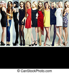bonito, moda, grupo, collage., mulheres jovens