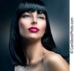 bonito, morena, hairstyle., moda, portrait., modelo, menina