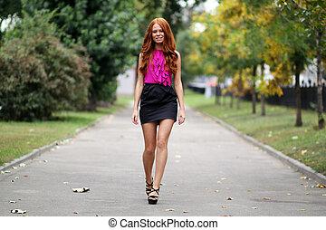 bonito, outono, mulher, parque, jovem