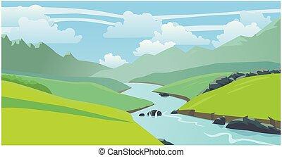 bonito, paisagem, natural, rio, montanhas