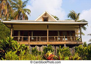 bonito, praia tropical, casa