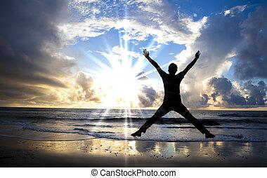 bonito, pular, feliz, praia, amanhecer, homem