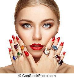 bonito, retrato, mulher, jóia