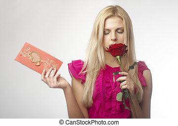 bonito, rosa, jovem, vermelho, mulheres