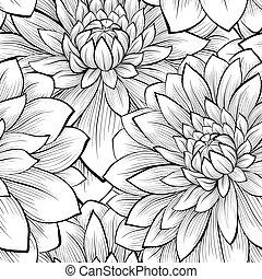bonito, seamless, experiência preta, monocromático, flores brancas
