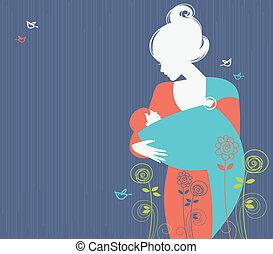 bonito, silueta, funda, bebê, fundo, mãe, floral