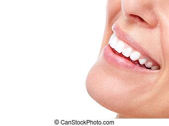 bonito, sorrizo, mulher, teeth.
