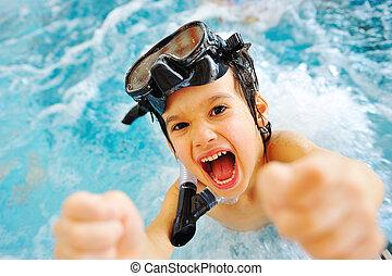 bonito, verão, grande, time!, piscina