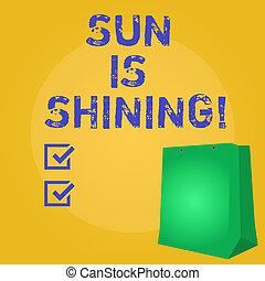 bonito, verão, natural, negócio, paisagem., sol, mostrando, sol, dias, shining., escrita, nota, quentes, foto, showcasing, desfrutando