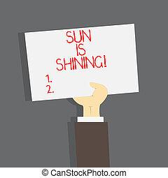 bonito, verão, natural, negócio, paisagem., sol, mostrando, sol, dias, shining., escrita, quentes, mão, texto, conceitual, desfrutando, foto