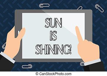 bonito, verão, natural, paisagem., texto, mostrando, sol, dias, shining., sinal, quentes, foto, conceitual, sol, desfrutando