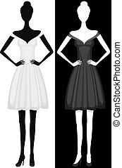 bonito, vestido, menina, vetorial, silueta