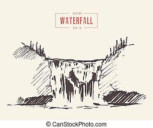 bonito, vindima, cachoeira, ilustração, desenhado