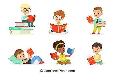 books., vetorial, ler, crianças, illustrations., lote, jogo
