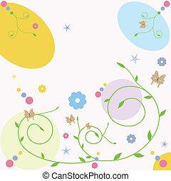 borboleta, cartão, saudação, floral