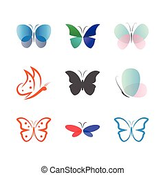 borboleta, cobrança, vetorial, modelo, logotipo, ícone