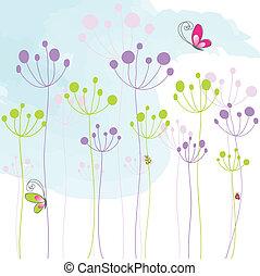 borboleta, coloridos, abstratos, floral
