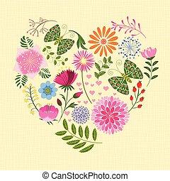 borboleta, coração, flor, coloridos, springtime, forma
