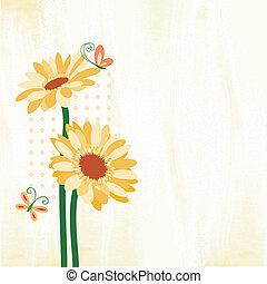 borboleta, flor, springtime, coloridos, margarida