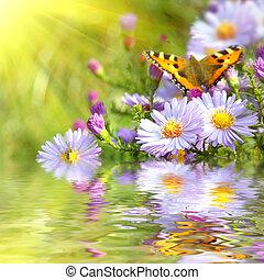 borboleta, flores, reflexão, dois