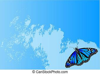 borboleta, fundo, abstratos