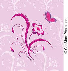 borboleta, padrão, flor