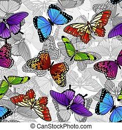 borboleta, padrão, seamless, fundo