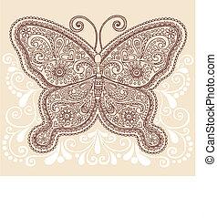 borboleta, paisley, henna, doodle