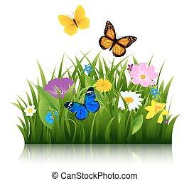 borboleta, verão, flores