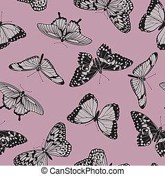 borboleta, vindima, seamless, padrão