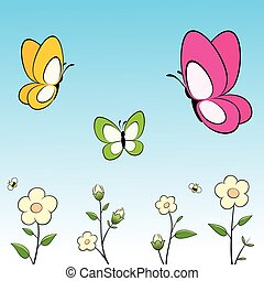 borboletas, flores, caricatura