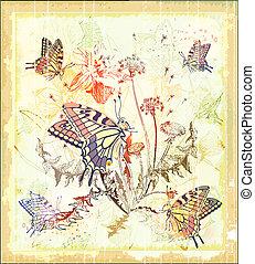 borboletas, flores, fundo